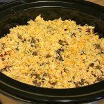 Ingredients assembled in a crock pot for Crock Pot Lasagna