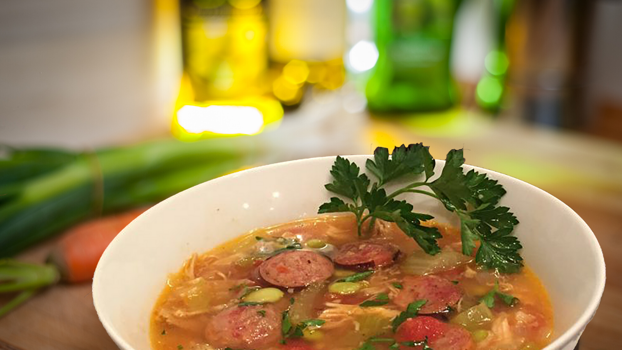 Turkey, Sausage, and Edamame Soup